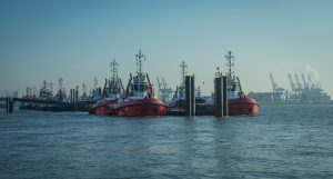 Towing boats in the harbor of Hamburg.